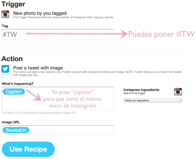 receta ifttt instragram twitter