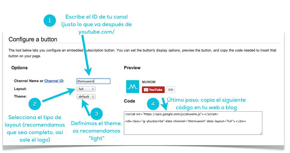 Cómo agregar el botón de suscripción de Youtube en tu página web o blog