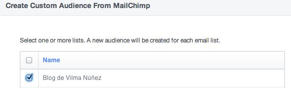 mailchimp audiencia facebook