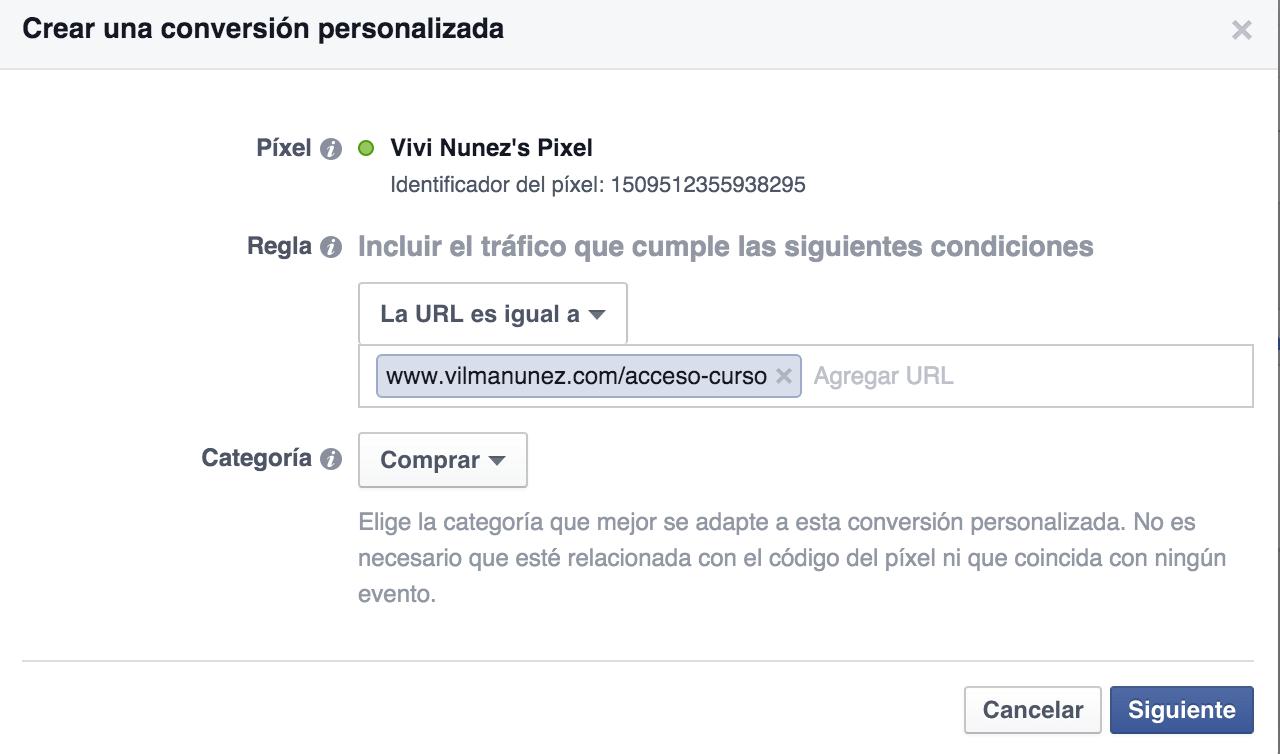 conversion personalizada facebook pixel