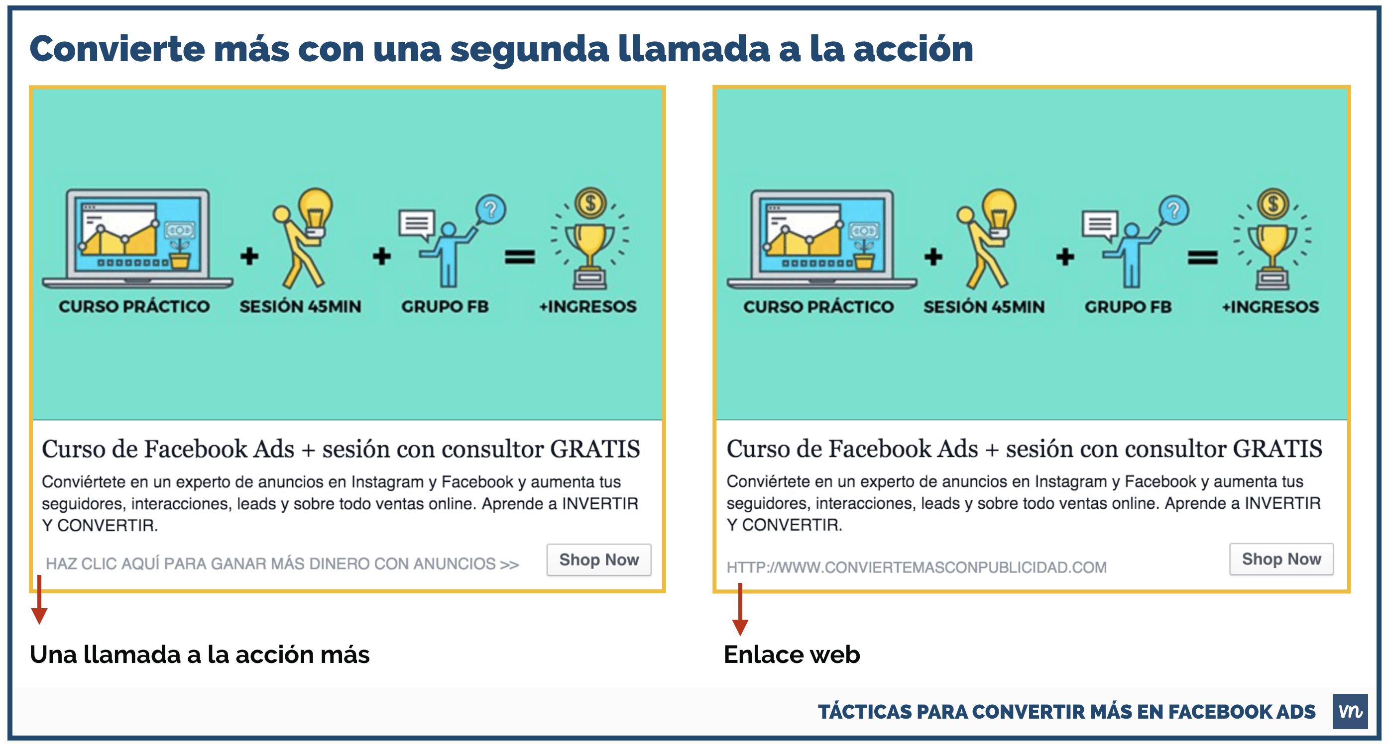TÁCTICAS PARA CONVERTIR MÁS EN FACEBOOK ADS TEXTO ENLACE