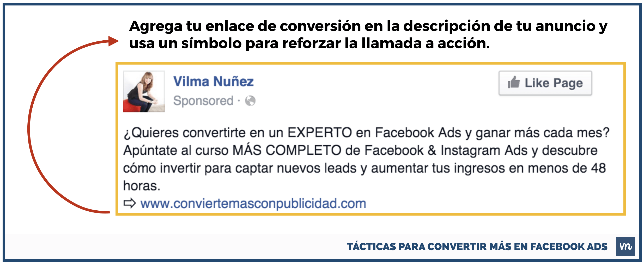 enlace en descripcion tacticas convertir facebook ads
