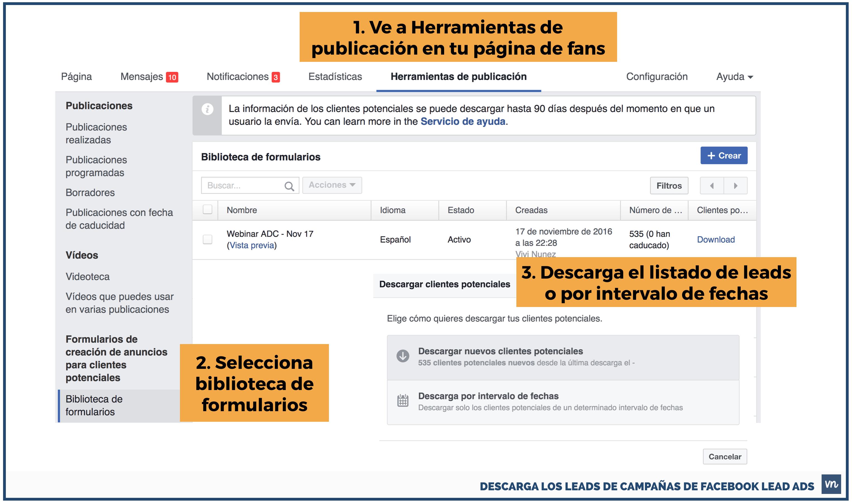 descarga leads facebook lead ads