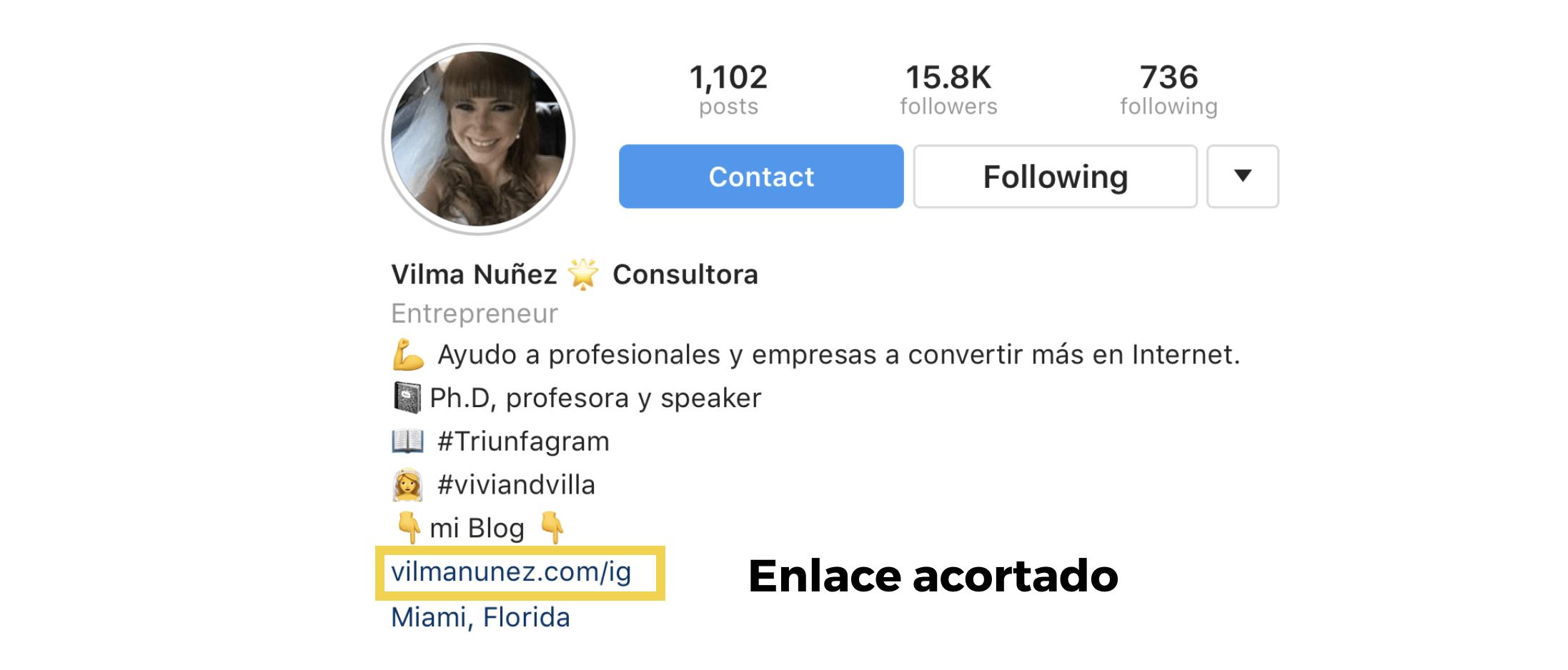 enlace en instagram