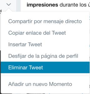 Cómo borrar un tweets