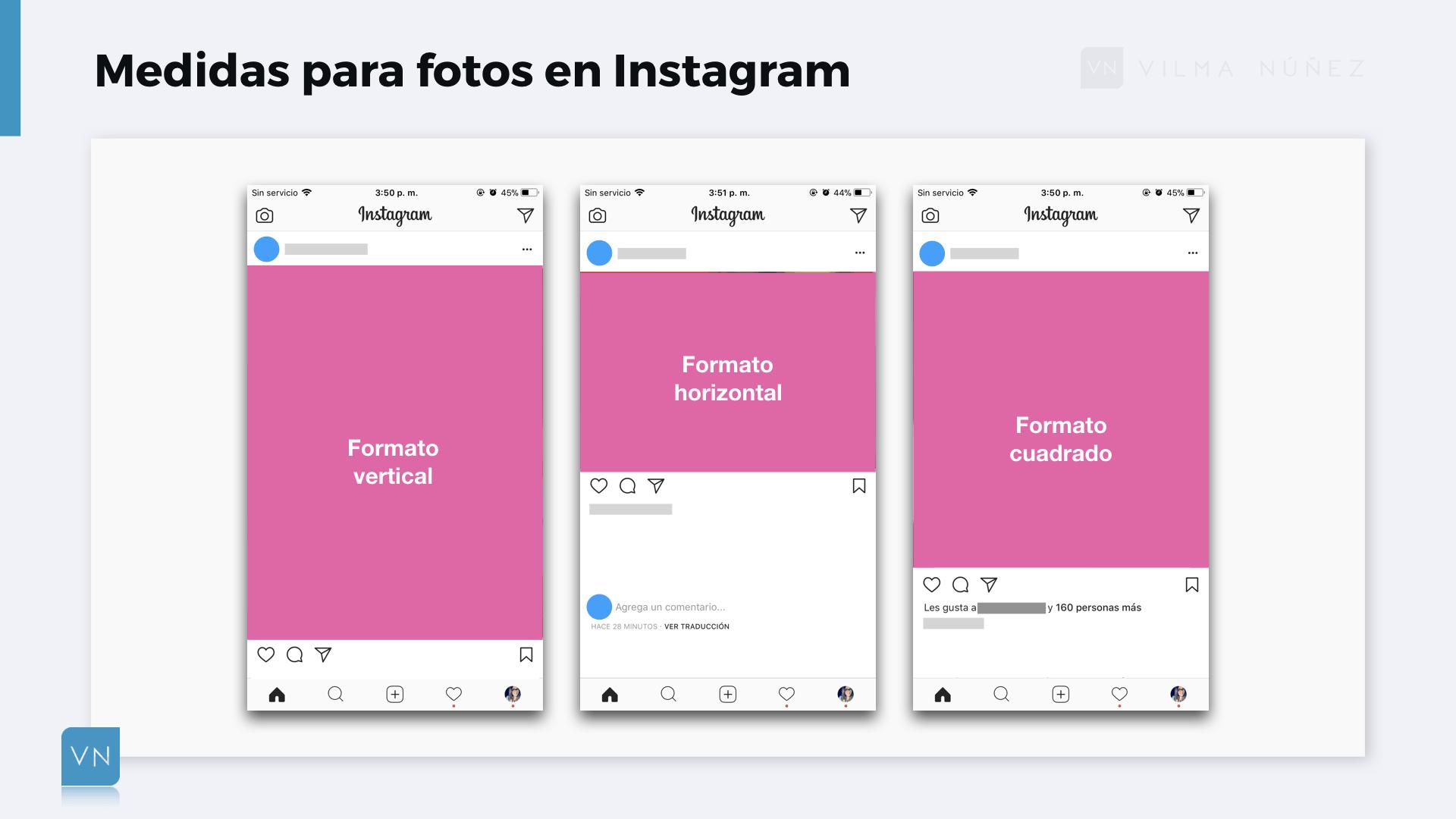 Ejemplos de formatos de fotos para subir en Instagram (Horizontal, cuadrado y vertical)