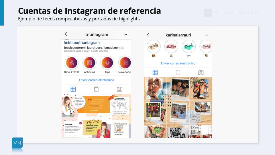 ejemplo de cuentas en Instagram