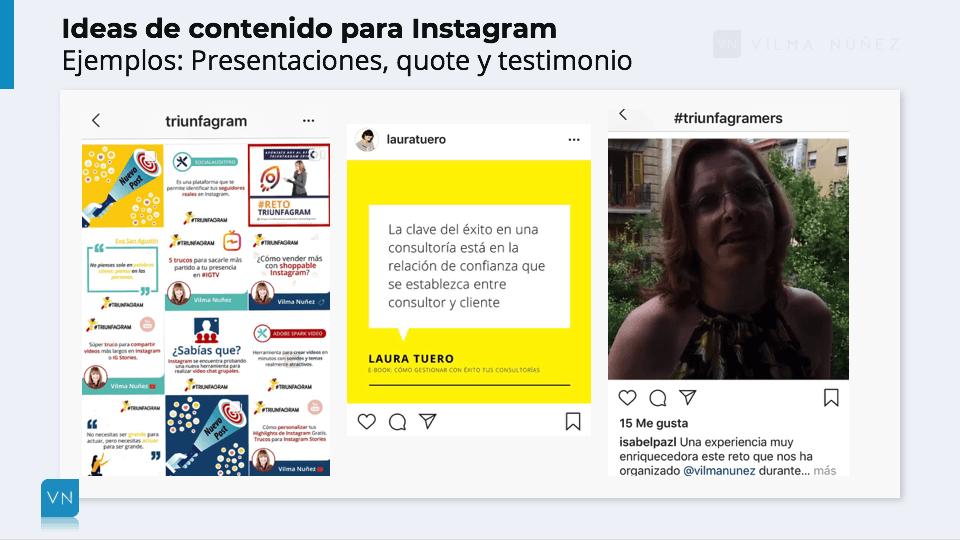 Ejemplos para publicar contenido en instagram