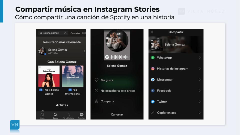 compartir canciones de spotify en Instagram