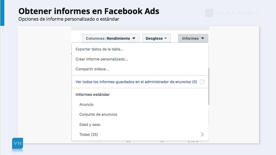 obtener informes en facebook ads