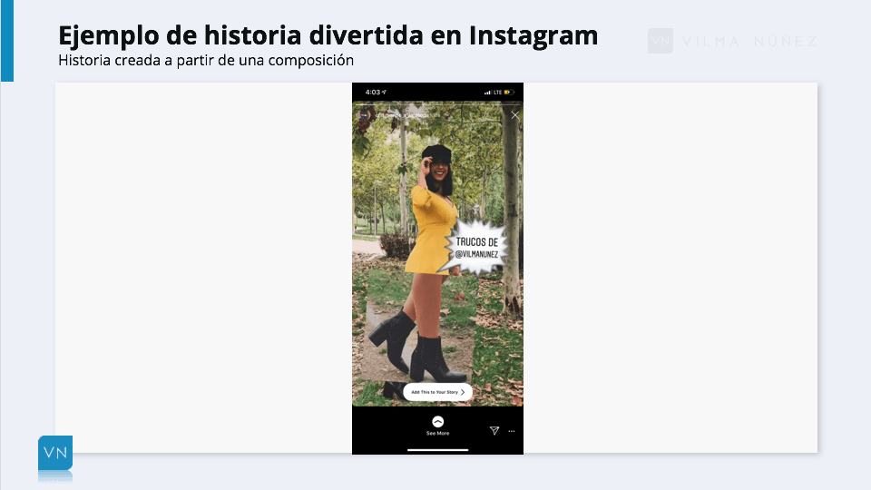 ejemplo de historias en Instagram con composición
