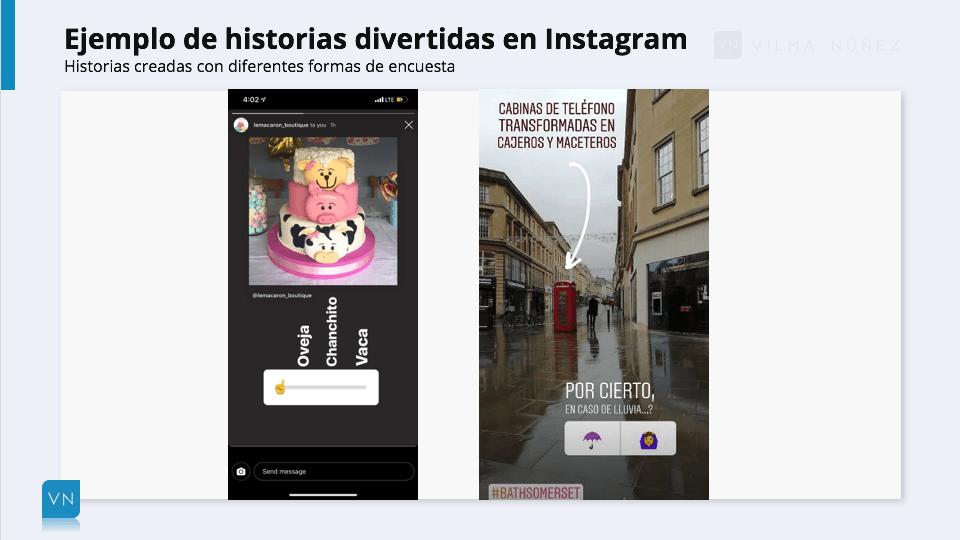 ejemplos de historias en Instagram con encuestas divertidas