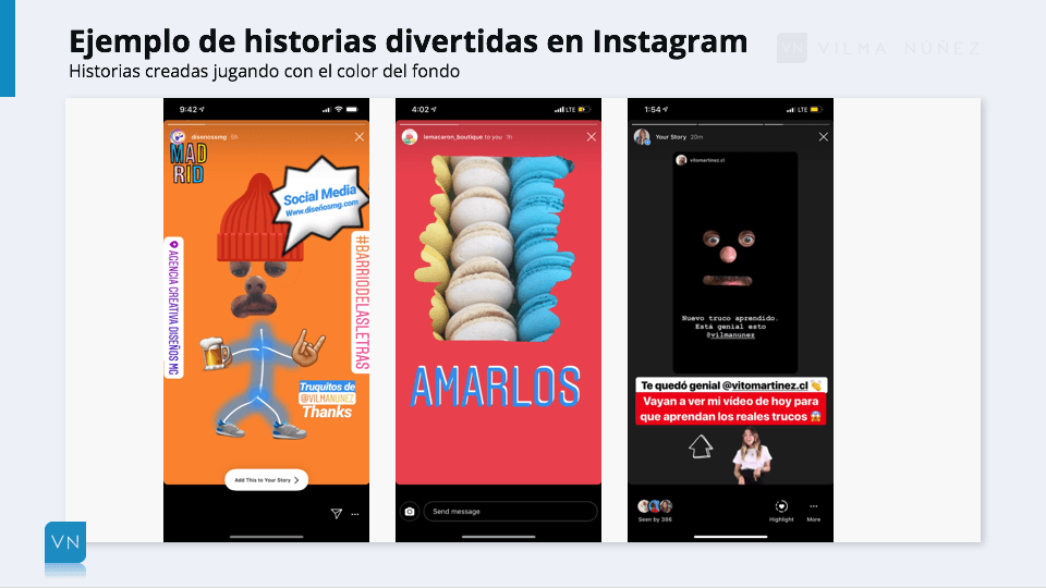 ejemplos de historias en Instagram con fondos divertidos