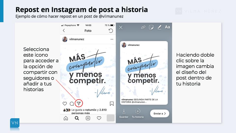 Ejemplo repost en instagram de post a historia