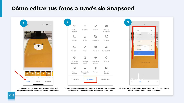 editar fotos para Instagram con snapseed