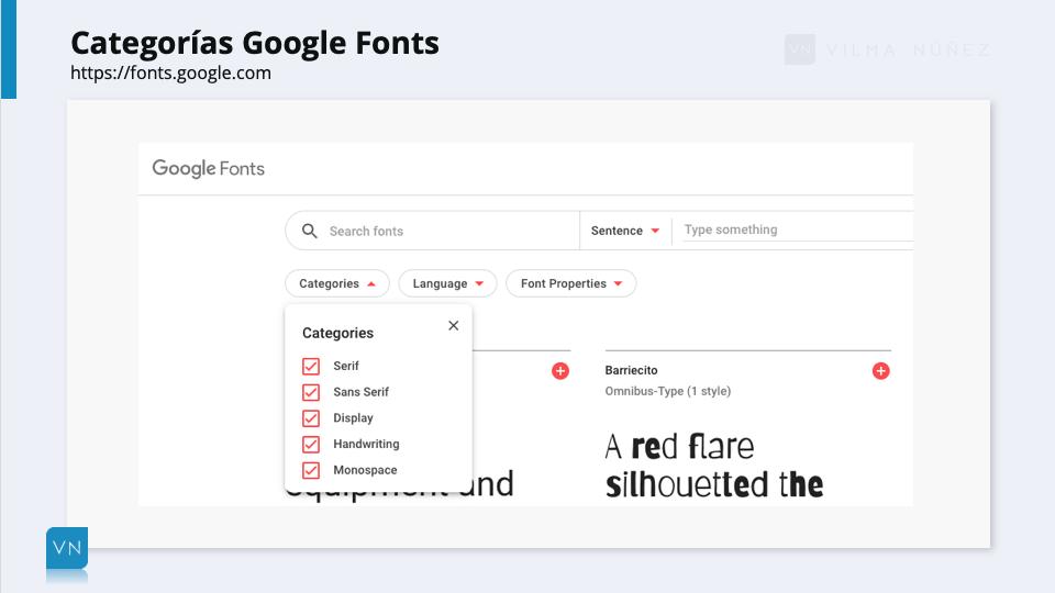 categorías Google Fonts