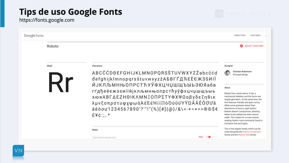 Usos Google Fonts