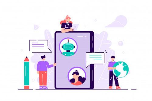 ilustracion-aislada-plana-hablando-chatbot-linea-computadora-portatil-comunicacion-bot-chat-servicio-al-cliente-soporte-concepto-inteligencia-artificial-robot-bot-gente_126608-9